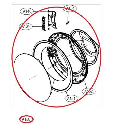 Obrázek Originální komplet dveří ADC74625703 pro pračku LG