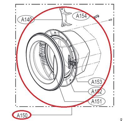 Obrázek Originální komplet dveří ADC74156301 pro pračku LG